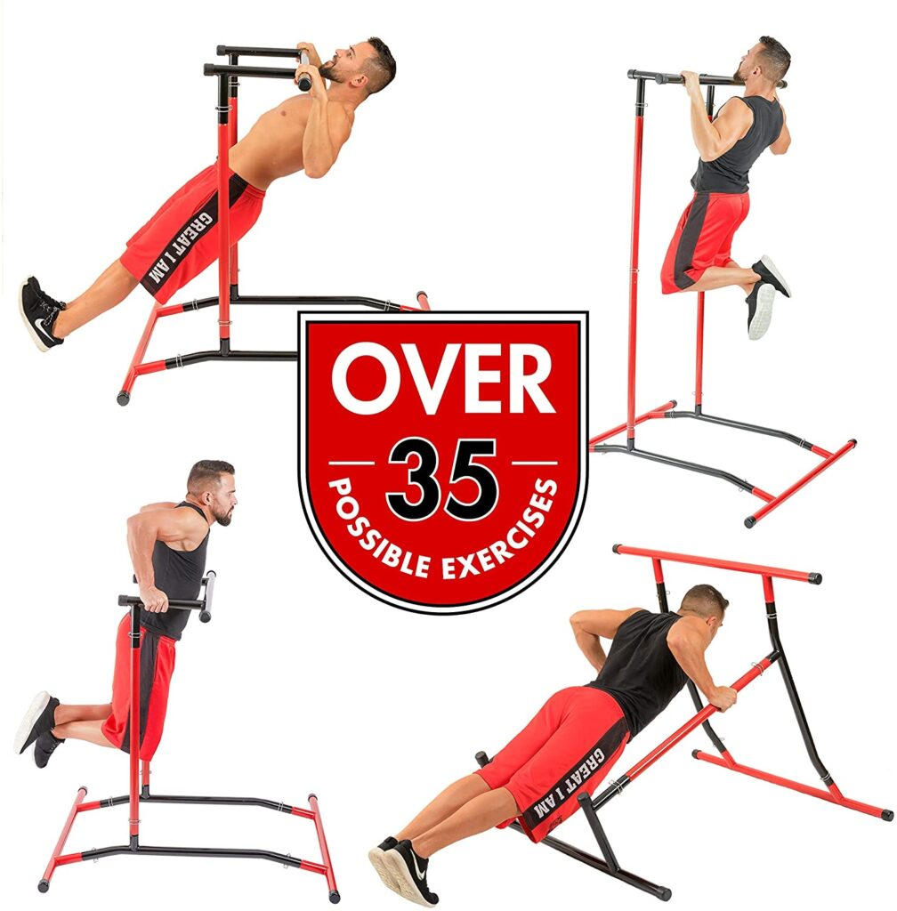GoBeast Pull Up Bar Free Standing Dip Station Portable Power Tower